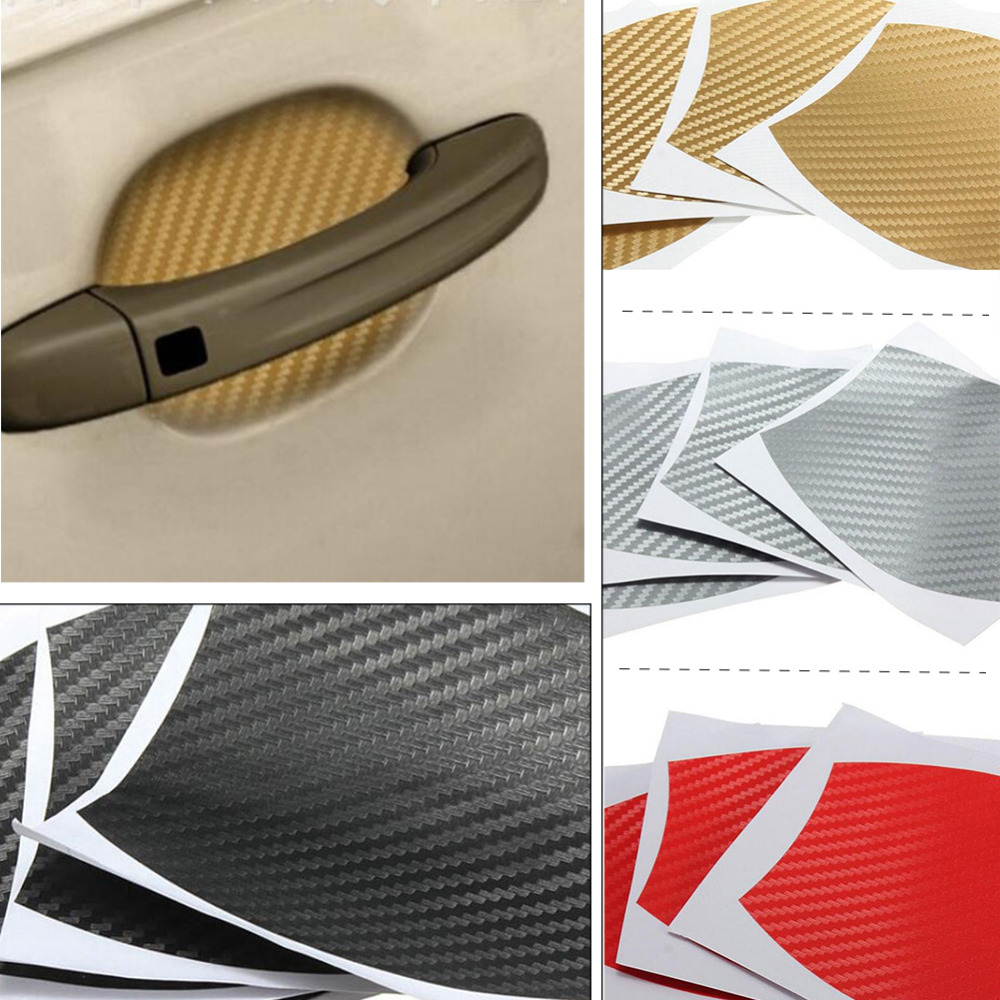 10*9CM Car Styling Stickers On Cars Carbon Fiber Vinyl Car Stickers DIY Parts Mold Protection Stickers 4pcs