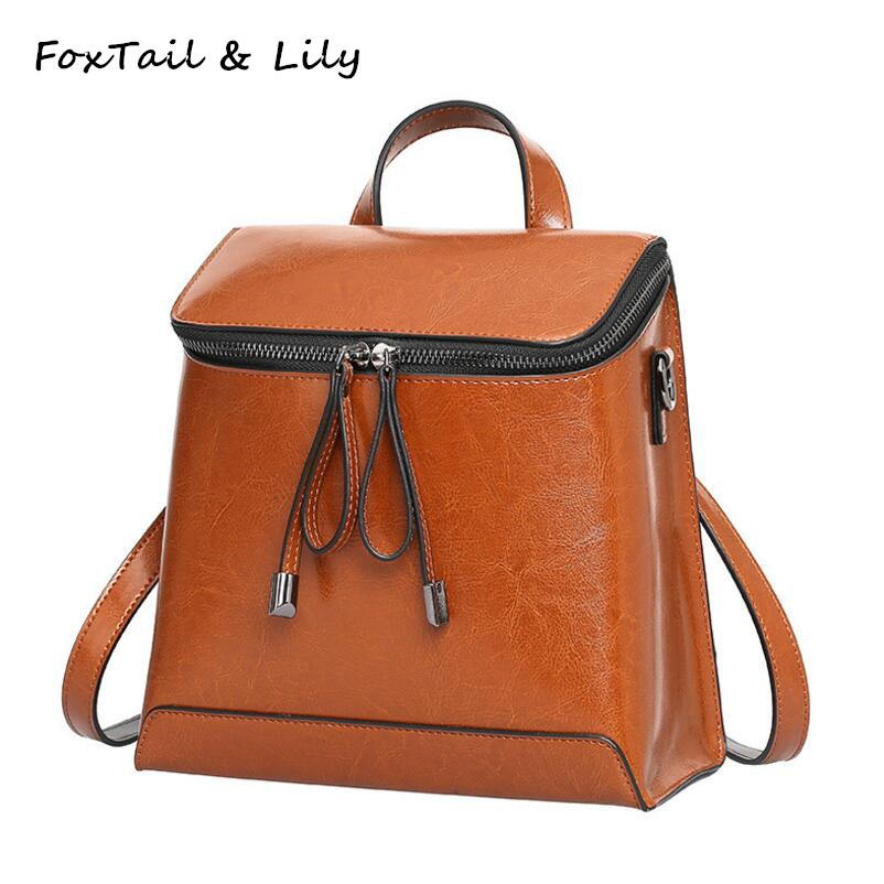 FoxTail & Lily Oil Wax Cowhide Backpack Women Genuine Leather Tote Shoulder Bags Fashion Trend Multifunctional Travel Backpacks luxury oil wax genuine cow leather women backpack small women s travel bags multifunction korean fashion women shoulder bags