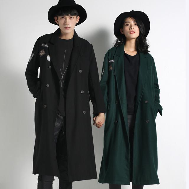 Primavera de alta qualidade das mulheres dos homens de lã trincheira de lã casaco masculino moda casual solta outwear double breasted rua trincheira Y108