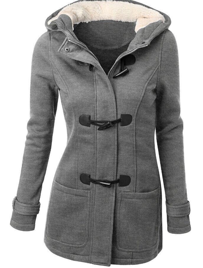 2016 Fashion Autumn Winter Jacket Women Hooded Winter Coat Women Parka Horn Button Coats Abrigos Y