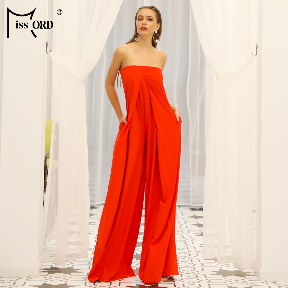 Missord 2020 Women New Summer Sexy Slash Neck Off Shoulder Backless Rompers Elegant Solid Color Jumpsuit FT18843