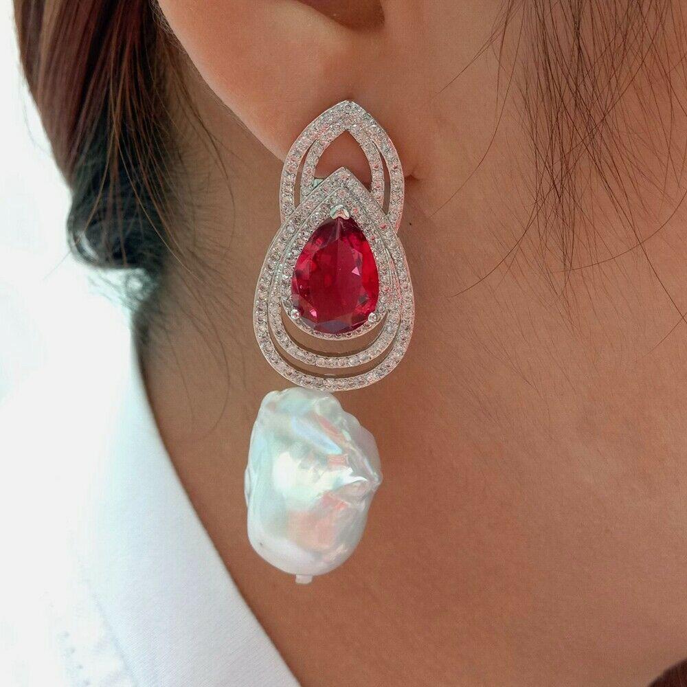 Cultured White Keshi Pearl Red Cz Rhinestone EarringsCultured White Keshi Pearl Red Cz Rhinestone Earrings