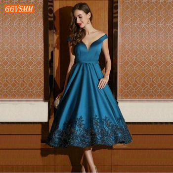 Fashion Blue V Neck Prom Dresses Off Shoulder Satin Appliques Lace Prom Gowns Tea Length A Line Banquet Women Formal Party Dress