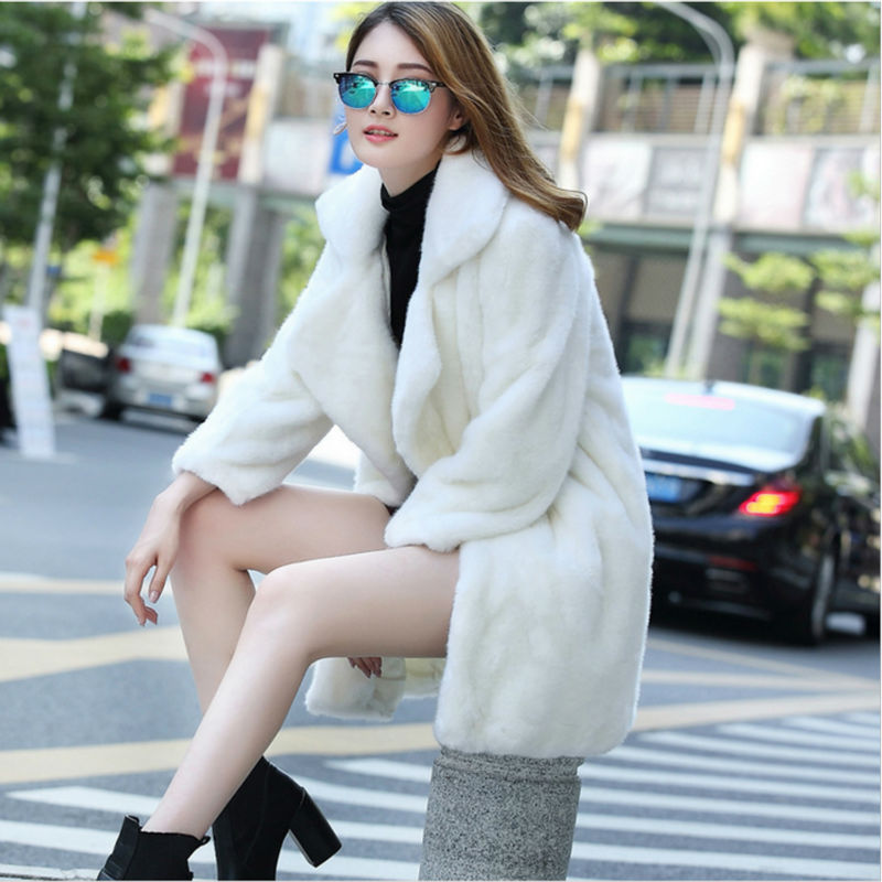Faux Fur Jacket Women Black White Slimming Mink Coat Ladies Winter