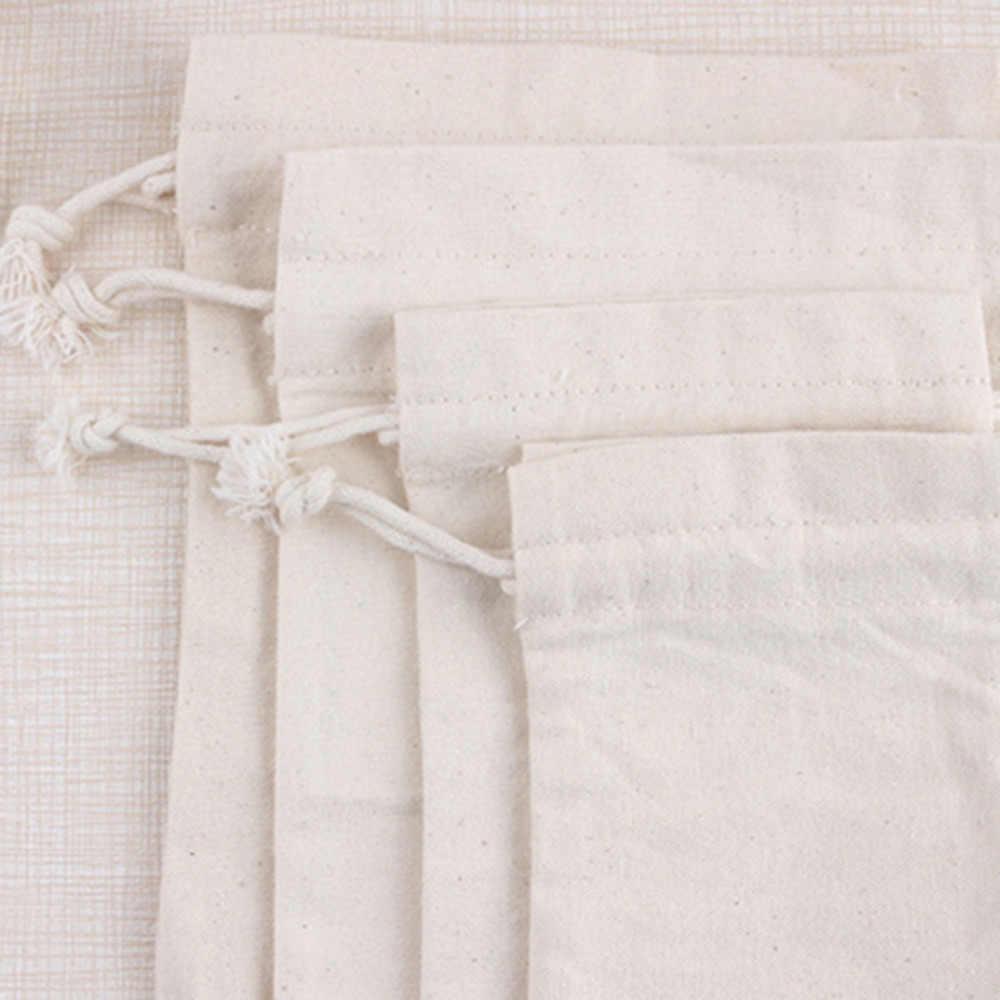 1Pc naturalna juta biała płócienna torba sznurkiem opakowanie na biżuterie torby Wedding Favor etui i torby na prezenty