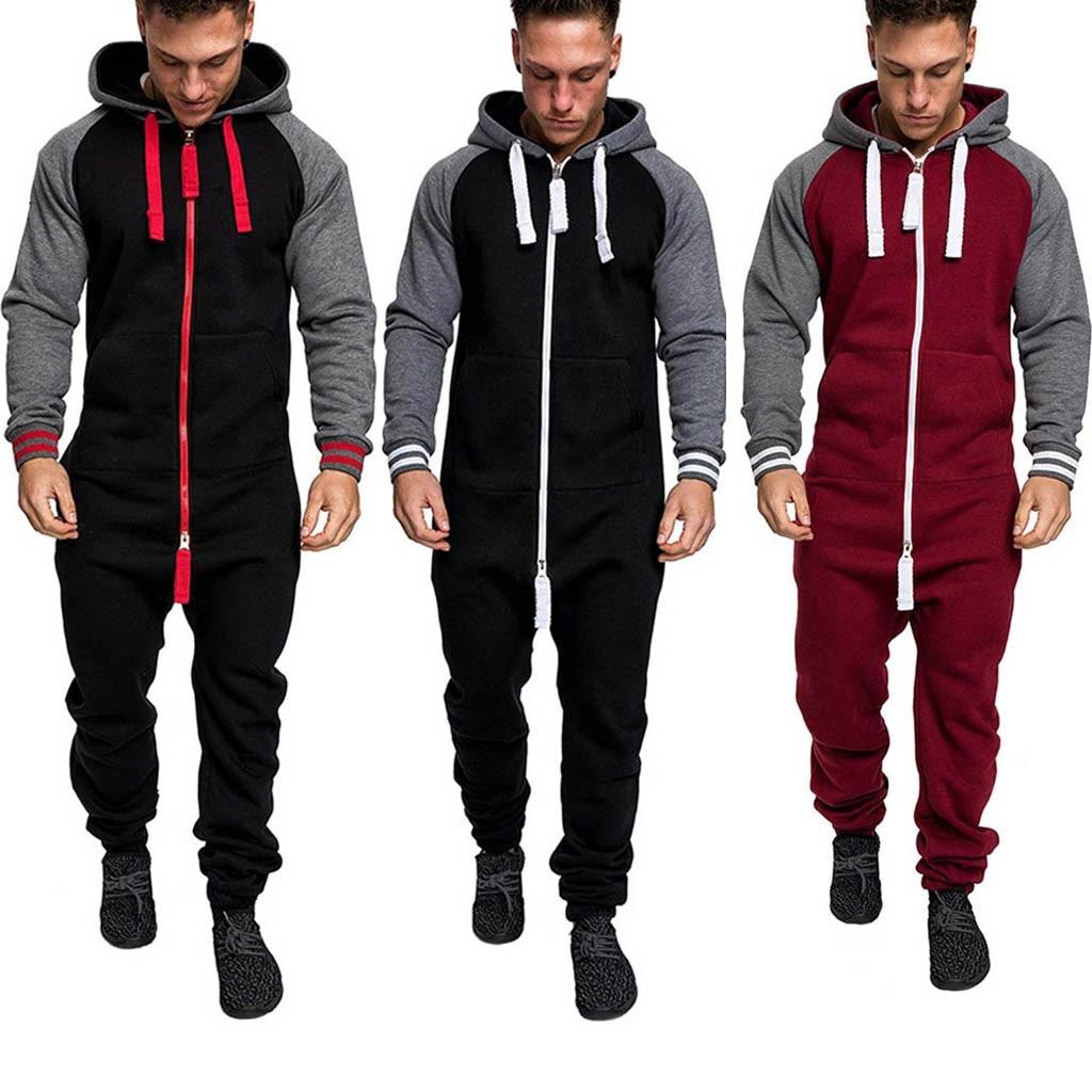 2019 Men Autumn Winter 4 Colors Splicing Casual Pockets Hoodie Print  Zipper  Long Sexy Playsuit Sporting Jumpsuit Warm Set #VD7