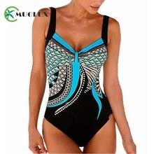 2019 Black Vintage Print Floral Plus size Swimsuit Tankini One piece Swimwear Women Bandeau Female Bathing Suit Padded monokini plus size palm leaf floral print tankini