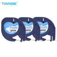 TIANSE 3 Pack Lot DYMO 91201 Black On White Compatible DYMO LetraTag Tape Label For DYMO