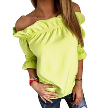 Women Sexy Off Shoulder Pops Nice Summer Blusas Femininas Casual Half Sleeve Blouse Slash Neck Shirts Plus Size Women Clothing