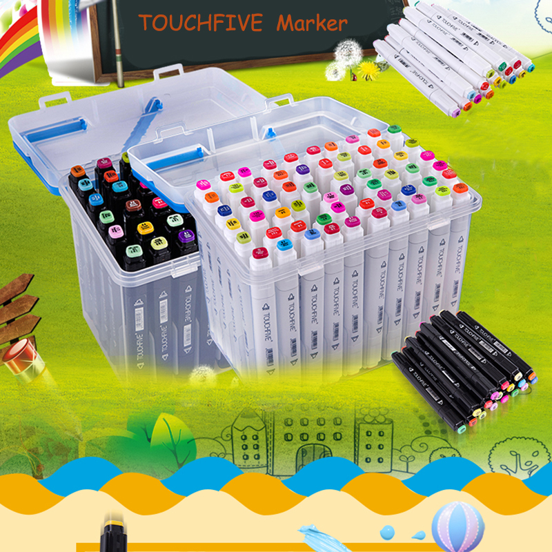 For Russia Only TOUCHFIVE  80/60 pics/lot brand art marker with BOX oily alcohol Double Headed Professional copic sketch markers periche professional lipos shampoo oily