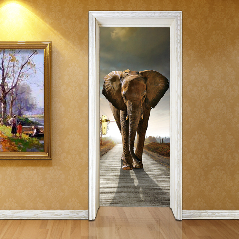 3D Photo Wallpaper Elephant PVC Self-adhesive Waterproof Wall Paper Home Decor Living Room Bedroom Bathroom Door Mural Sticker self adhesive waterproof pvc wallpapers roll morden wall paper bedroom living room furniture renovation sticker home decor