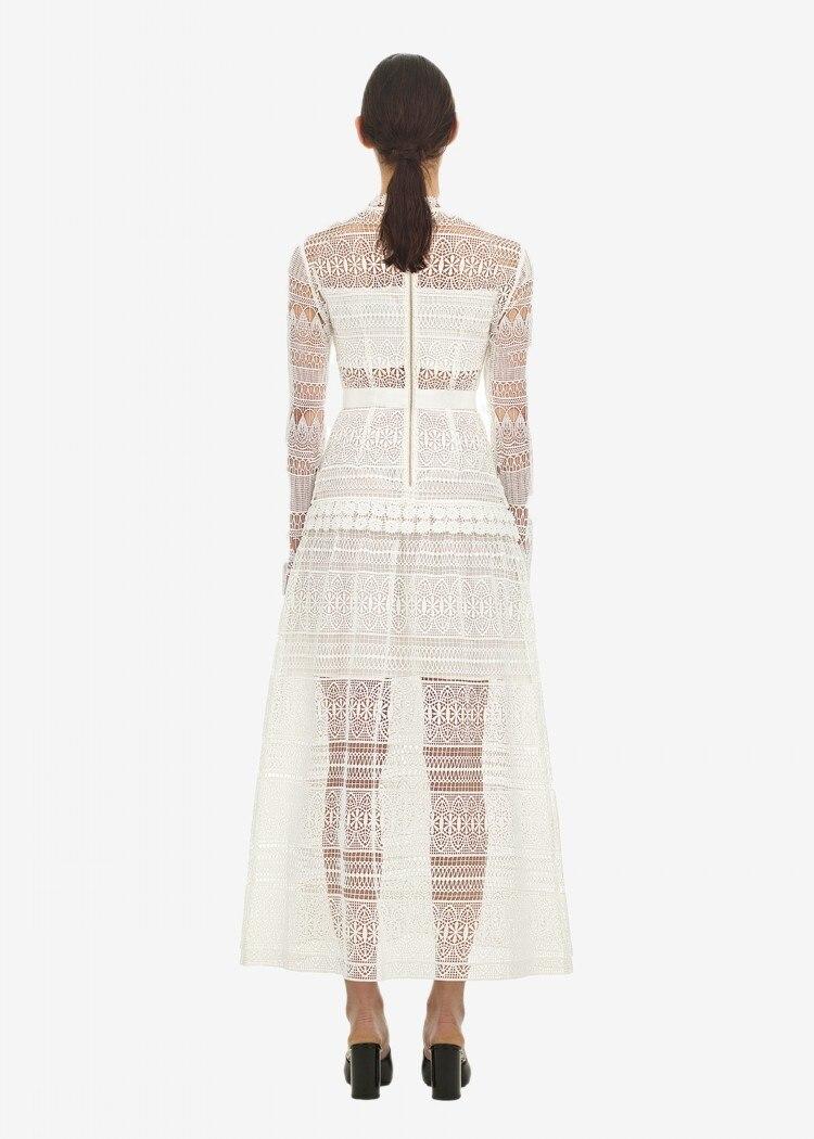2018 Осень Зима Новое поступление белые кружевные платья женские элегантные открытые макси длинные платья Автопортрет - 3