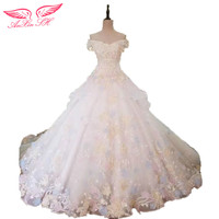 AnXin SH Princess color flower lace wedding Dress lace lot of color flower beading lace wedding dress 100% Real Pictures