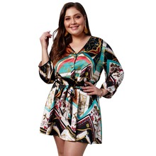 WHZHM Sashes Printed Long Sleeve High Waist Loose Plus Size 3XL 4XL Dress Women Vestido Casual Summer Lace Up V-Neck Party Dress недорого