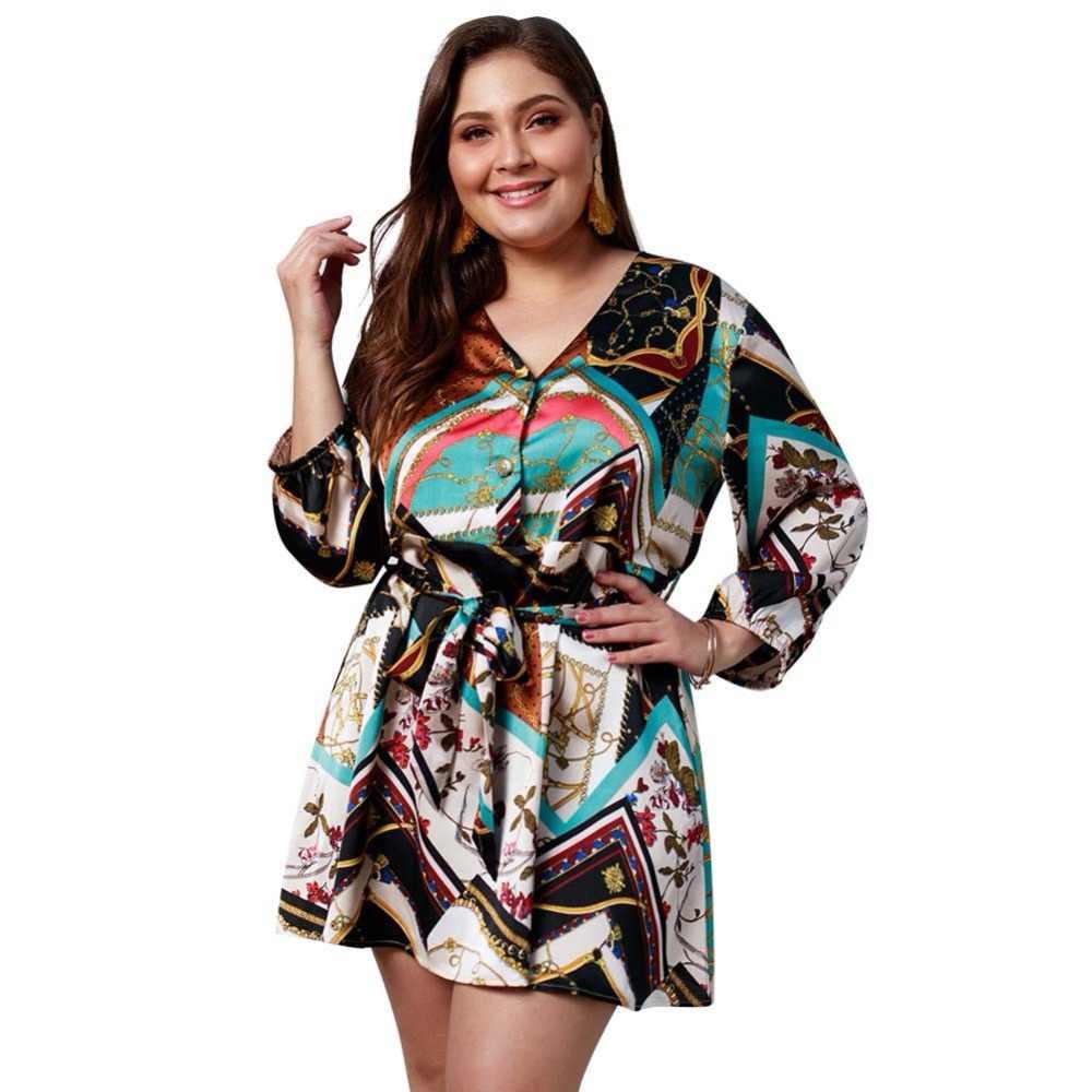 WHZHM/платье с поясом, с длинным рукавом, с высокой талией, свободное, плюс размер 3XL 4XL, женское платье, Vestido, повседневное, летнее, кружевное, с v-образным вырезом, вечерние платья