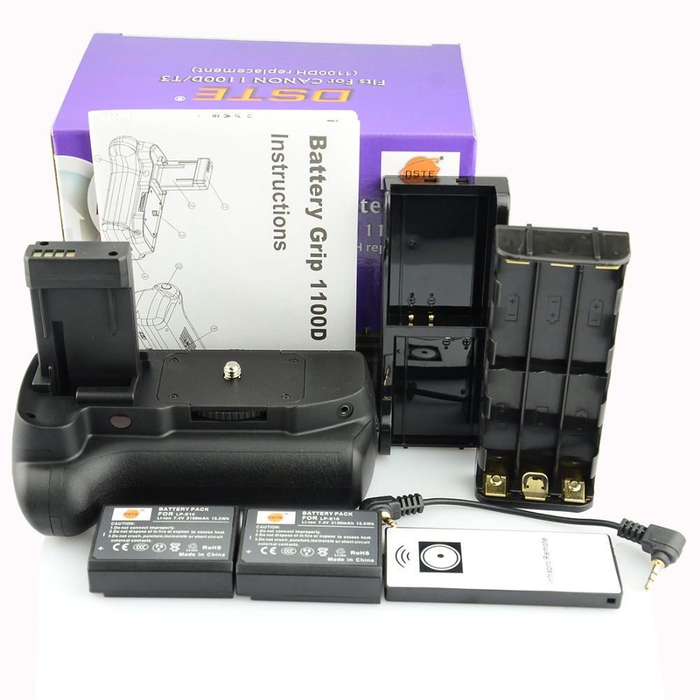 DSTE BG-E10 batterie Grip + 2x LP-E10 batterie pour Canon Kiss X50 rebelle T3 Kiss X50 rebelle T5 T6 1100D 1200D 1300D DSLR appareil photo
