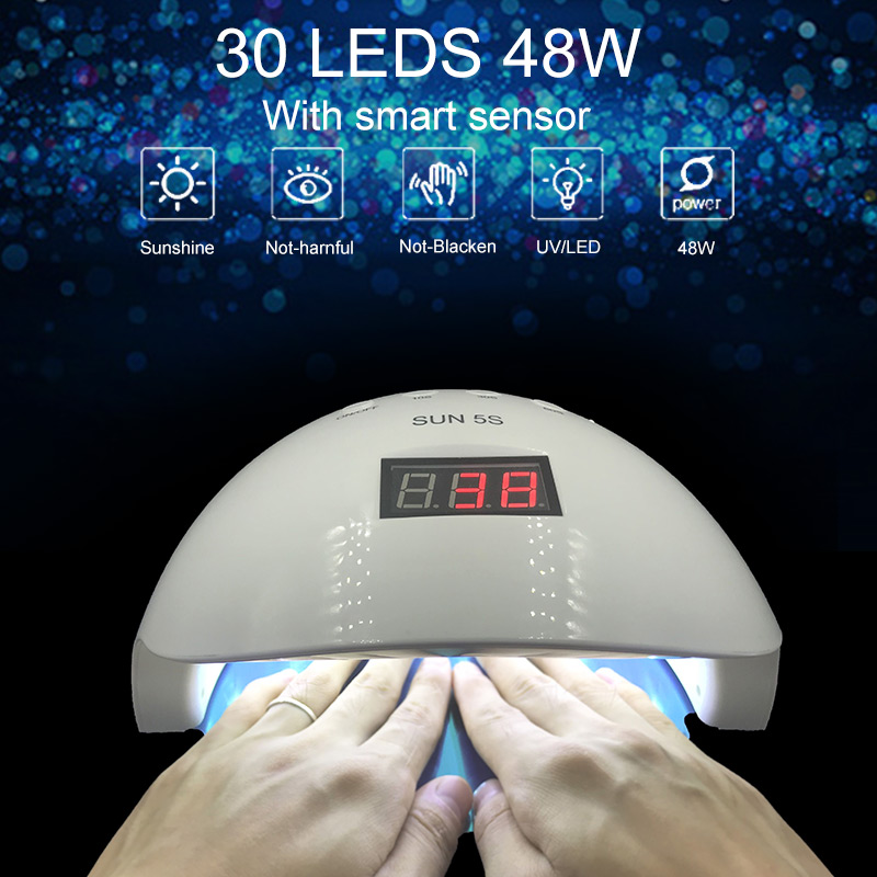 Sun5s 50w Uv Led Auto Sensor Nail Lamp Nail Dryer Gel Polish Curing Light With Bottom 30s/60s Timer Lcd Display White Light sun5 48w uv led auto sensor nail lamp nail dryer gel polish curing light with bottom 30s 60s timer lcd display white light