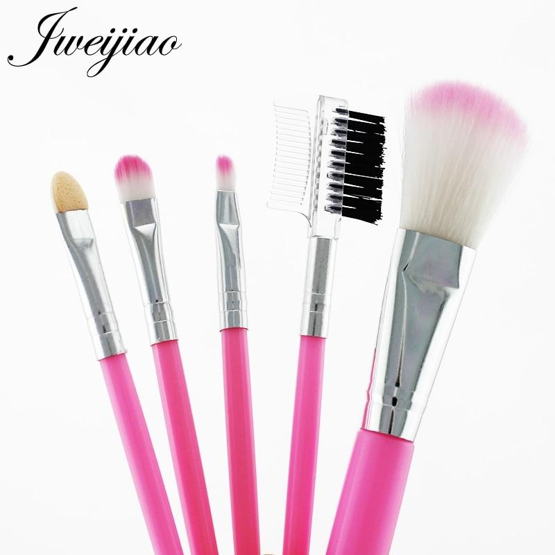 JWEIJIAO 5 pcs Full Professional Women's Makeup Brushes Sets Powder Eyeshadow Eyelash Cheek Pink Color Brushes Set Cosmetic Tool(China)