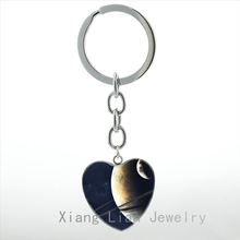 Vintage charm design Planet photo heart pendant key chain ring galaxy space universe Mars Sun planets keychain Geek gifts HP126