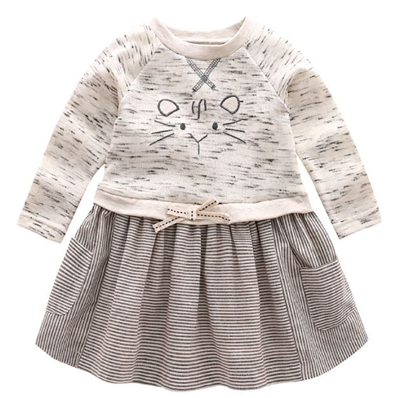 Toddler Girl Party Dress Cute Baby Long Sleeve Dress Mouse Pattern Princess Dresses For Little Girls Newborns Cotton Clothes 2016 new girls clothes 100% cotton cute pink gray lace dress for the girl princess dress art bowknot sleeveless dress