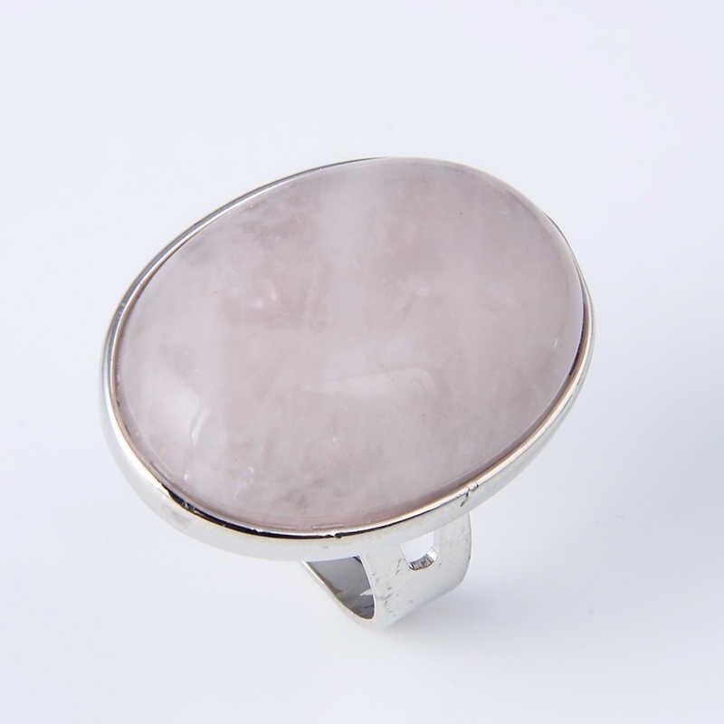 หินธรรมชาติรูปไข่แหวนผู้ชายผู้หญิงสีม่วงสีชมพูควอตซ์ Tiger Eye สีแดงหินโอปอลปรับแหวนเครื่องประดับ