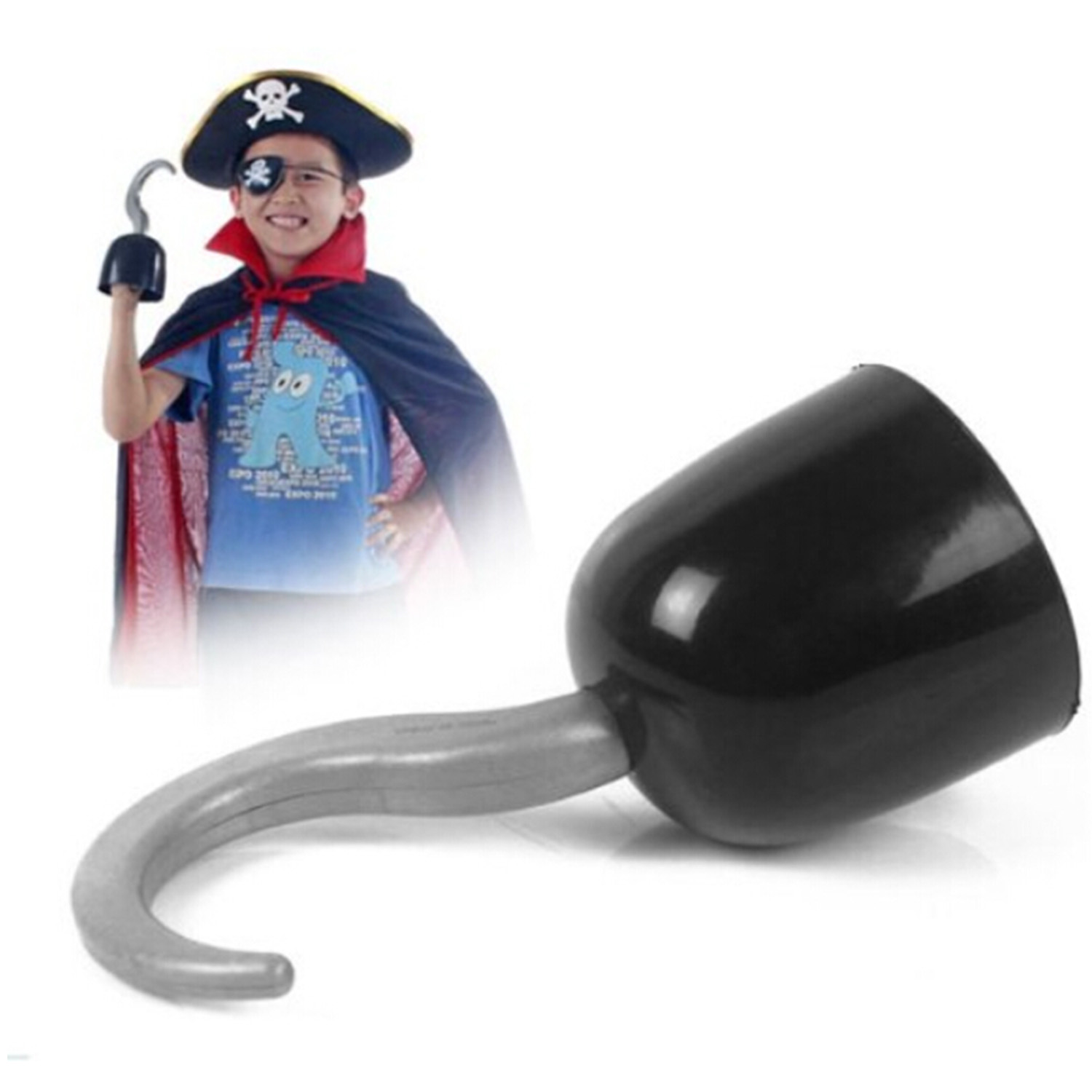 Besegad Kids Plastic Pirate Hook Black Weapon Pirate Ship Captain Crochet Halloween Party Cosplay Pirate Game Props Toy image