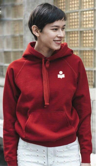 2018 Spring Woman Fashion Casual Red Malibu Drawstring Hooded Sweatshirt Front White Logo Long Sleeves