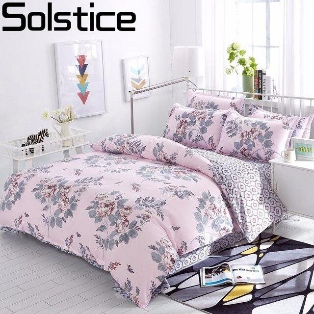 Solstice כותנה פסטורלי פרח Cartoon סגנון אופנה מצעים מצעי מיטת שמיכת סדין כיסוי ציפית 4 יחידות מצעים סטים/ מלכת