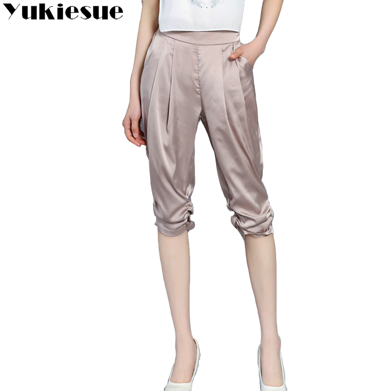 Harem pants capris women high waist silk chiffon loose casual calf length pants female trousers Plus size pantalon cuero mujer