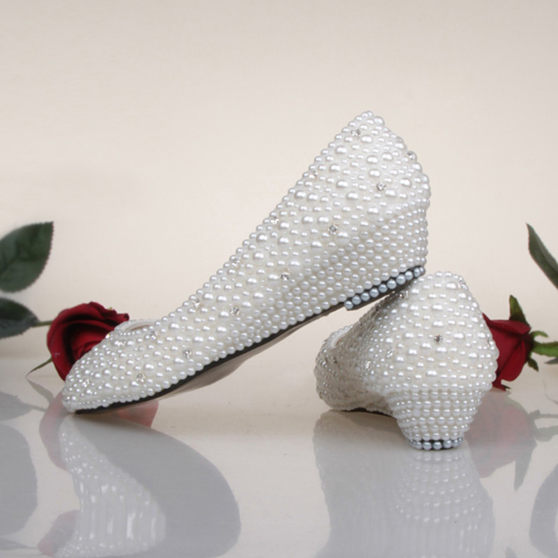 Bridesmaid Shoes White Ivory Pearl Wedding Shoes Fashion Low Wedge Heel  Bridal Shoes Spring Comfortable Prom Dancing Dress Shoes In Womenu0027s Pumps  From Shoes ...