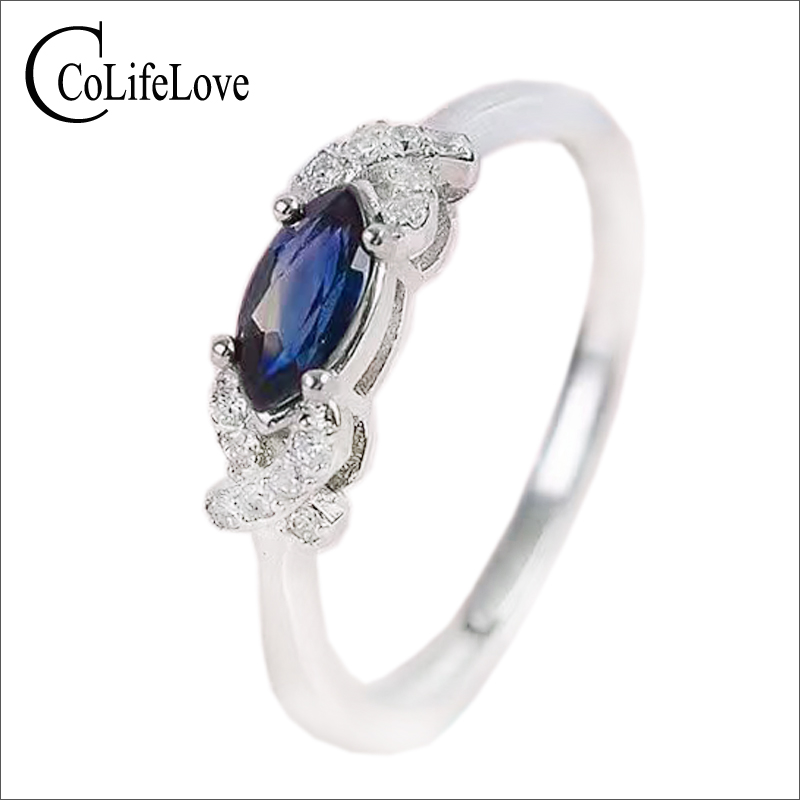 Fashion Silver Sapphire Ring For Office Woman 3 Mm * 6 Mm Natural Chinese Sapphire Ring 925 Silver Sapphire Jewelry