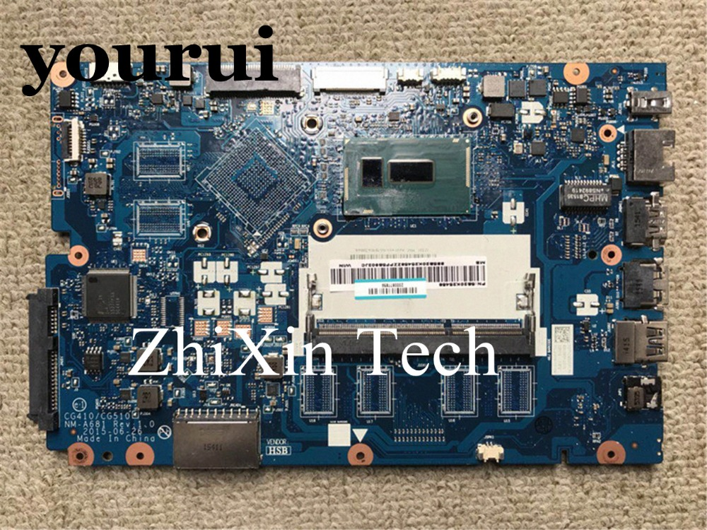 yourui CG410/CG510 NM-A681 for Lenovo 100-15IBY 100-15IBD Laptop Motherboard <font><b>SR27G</b></font> I3-5005U DDR3L With Video Card Fully Tested image