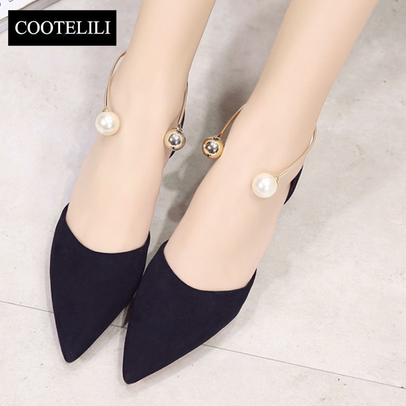 COOTELILI 35-39 Spring Casual Flats Solid Women Shoes Pointed Toe Slip-On Loafers Ankle Metal Decoration Pearl Ladies Shoes spring autumn solid metal decoration flats shoes fashion women flock pointed toe buckle strap ballet flats size 35 40 k257