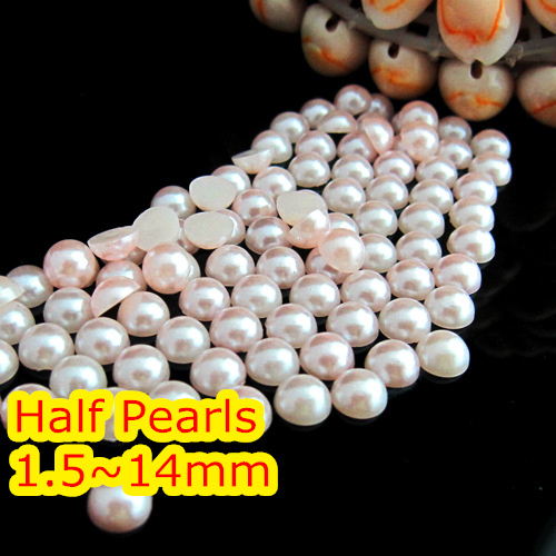 Lt.Pink Color 1.5mm~25mm All Size Choice Flat back ABS round Half Pearl beads, imitation plastic half pearl beads