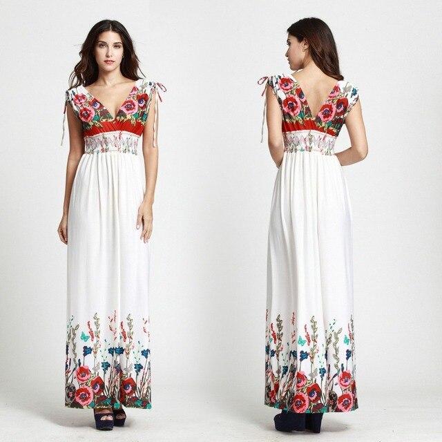 Summer Bohemia Women Sexy V-Neck Butterfly Print Floral Maxi Beach Dresses  Ice Silk Plus Size 3XL 4XL 5XL 6XL Long Maxi Dresses 6d5cb6f4eae8