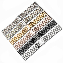 New 14 16 17 18 19 20 21 22 23 24MM Silver Black Full Stainless Steel Watch Band Strap Wacthband For CaL336 L4 L2 Watch Replace цены