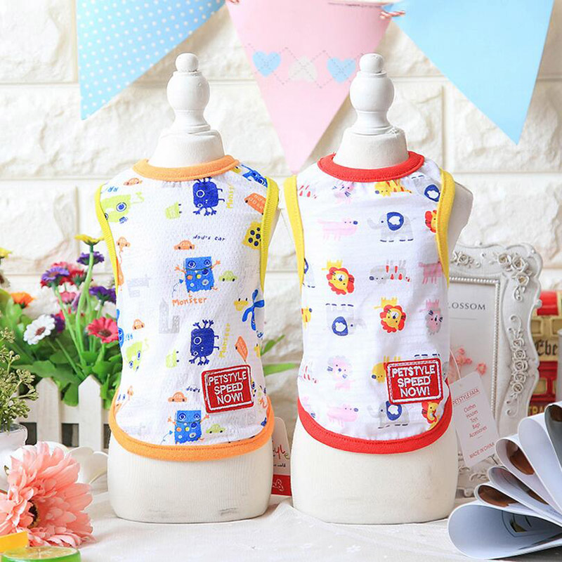 Mesh cartoon design hit colors dog vests 2017 newest design red yellow gold colors xs-xl sizes for sale pet shop dog acessorios
