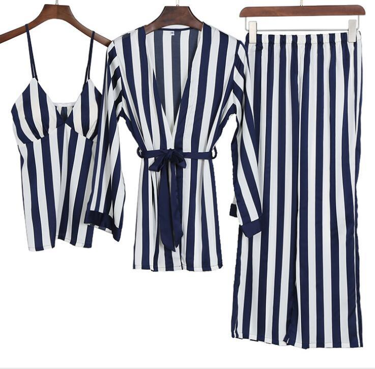 Freshing Summer 3 Pcs Sexy Ice Silk Stripe Woman Pajama Set Long Waist Belt Female Pijama
