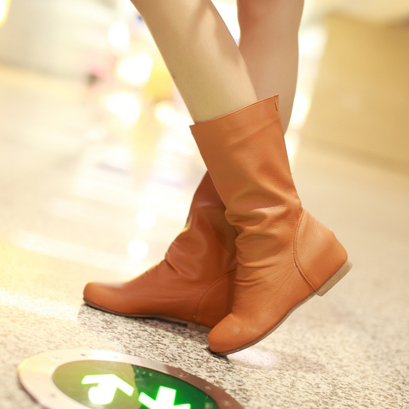 Spring Autumn Women Height Increasing Wedges Mid-Calf Boots Shoes Woman Short Boots Botas botte femme Plus Size 34-40.41.42.43