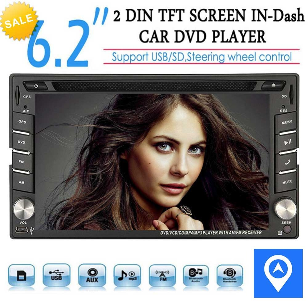 цена Car Autoradio 2din GPS SAT Navigation Multi-TouchScreen Car DVD Player In-dash Audio Car GPS Stero AM/FM Radio Bluetooth 8GB Map
