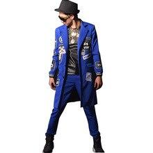 Custom Made Nightclub Stage Show Clothes Singer DJ Patchwork Men Blue Long Suit Coat Male Fashion Slim Fit Blazers Jacket