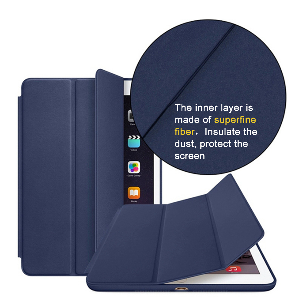 Cover Case for iPad Mini 4 3 2 1 PU Leather Silicone Soft Back Trifold Stand Sleep Smart