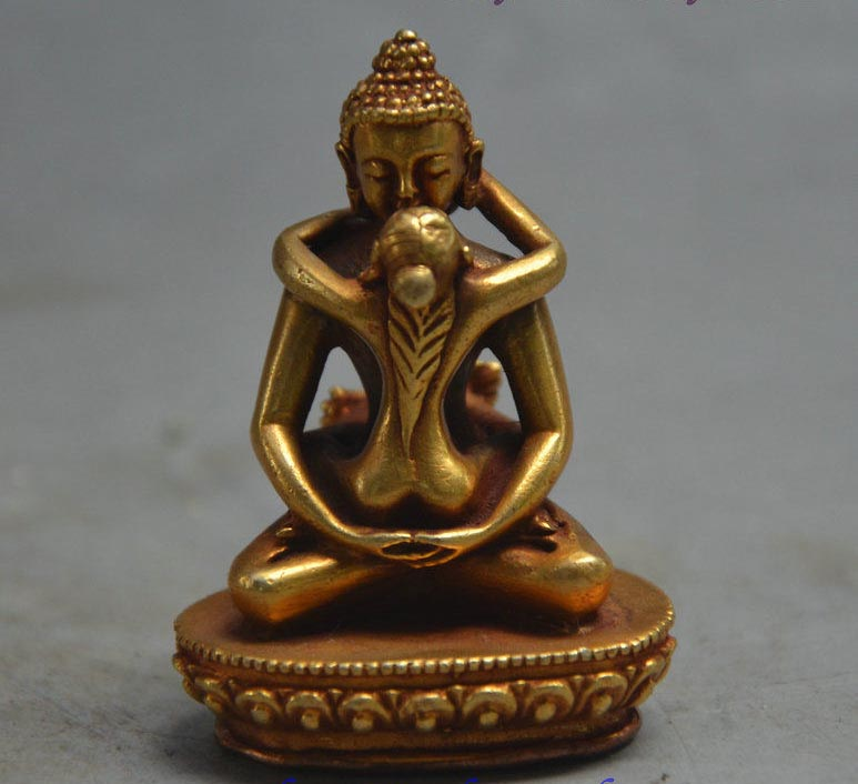 LIVRAISON Gratuite Tibet Bouddhisme Bronze Doré Or Samantabhadra Yabyum Tathagata Statue Figurine