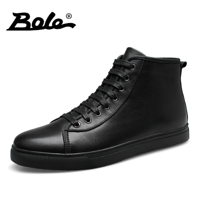 BOLE 37-48 Big Size Handmade Leather Men Snow Boots Winter New Keep Warm Men Ankle Boots Lace Up High-top Comfort Flat Men Boots bole handmade leather men snow boots fashion designer lace up men ankle boots keep warm men casual shoes winter flats men boots