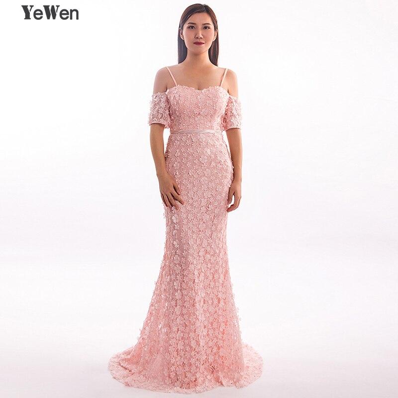 Sexy Manches Courtes Sirène Fleur gala Formelle Robe Robes De Soirée 2018 Longue Perlée élégante Dentelle Perles prom party Robe YeWen