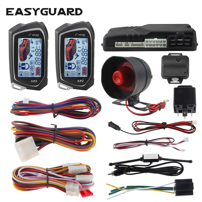 EASYGUARD 2 way car alarm system lcd remote engine start timer engine start shock sensor warning display car anti theft alarm