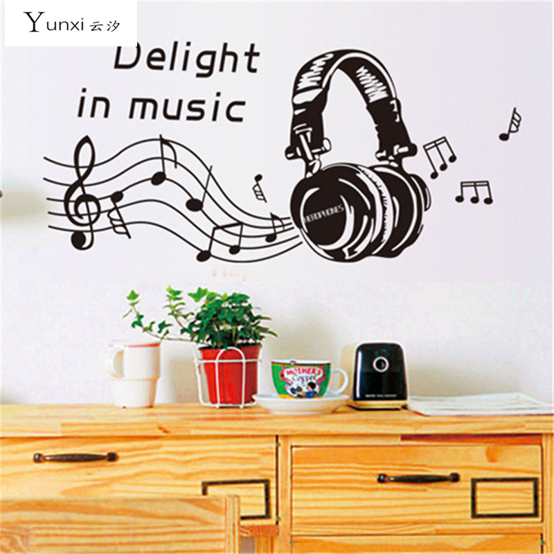 YunXi Music Headset Stickers Living Room Bedroom Background Decorative PVC Waterproof Wall 45100CM
