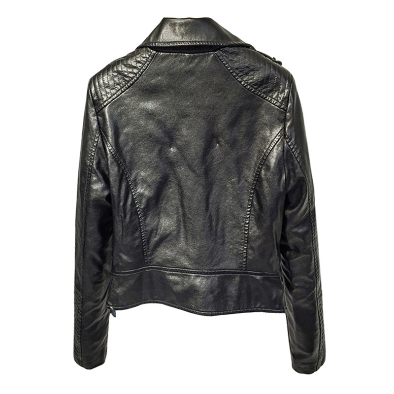 PU   Leather   Jacket Faux Soft   Leather   Coat Slim Black Rivet Zipper Motorcycle Pink Jackets