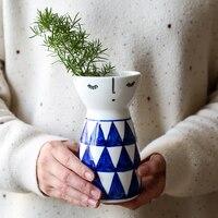 Japanese porcelain doll ceramic Flower vase living room cute Wedding Home Decoration Tabletop Handmade Vase