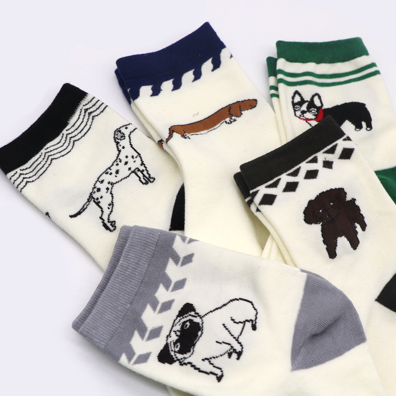 1 Paar Frauen Socken Mit Druck Hund Winter Socken Für Frauen Nette Cartoon Kunst Socke Weibliche Tier Socken Chaussette Femme Sokken Modischer (In) Stil;